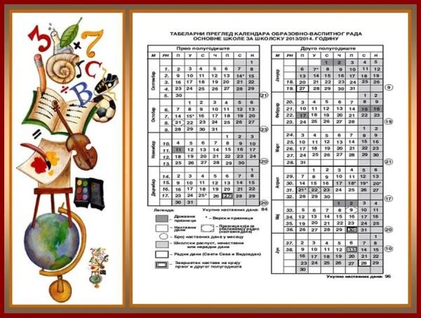 Tabelarni pregled školskog kalendara-tile-tile
